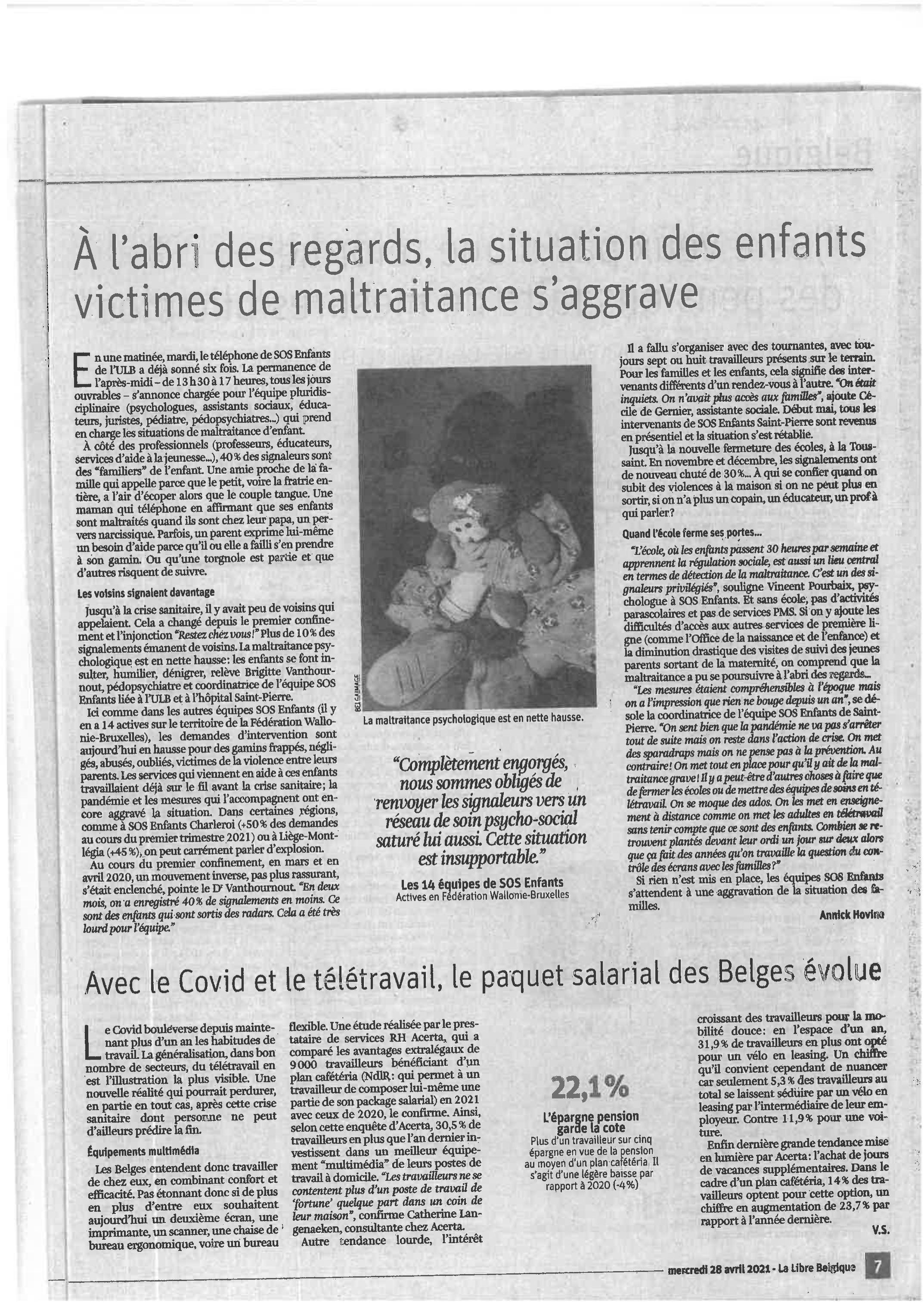 Lu dans la Libre Belgique du 28/4/2021.